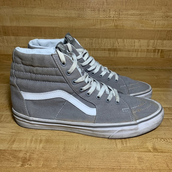 Vans SK8 Hi Canvas High Tops Gray/White Size 11